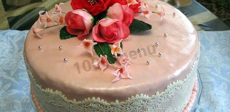 Простое украшение торт с пошагово