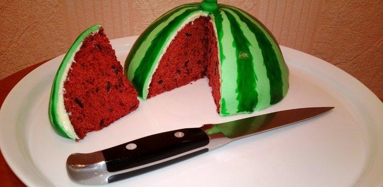 Торт арбуз рецепт с фото пошагово