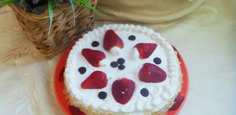 торт коровка с миндальными хлопьями - рецепт с фото