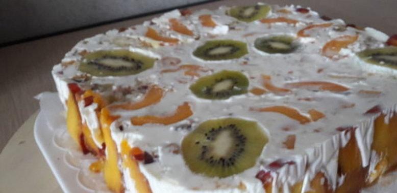 Фруктовый торт с желатином рецепт с пошагово в домашних условиях