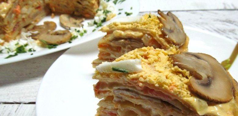 Блинный торт закусочный рецепт с фото пошагово в домашних условиях