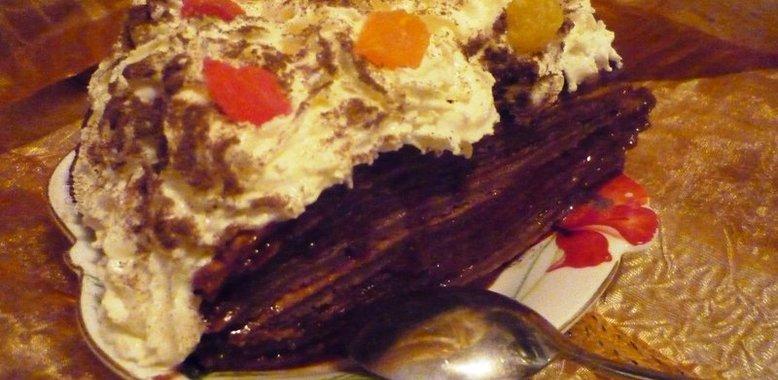 Блинный торт пошаговый шоколадный рецепт