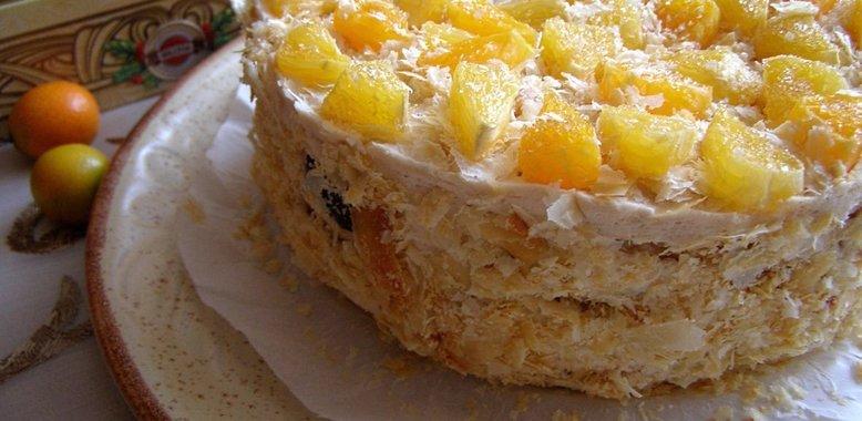 Торт из слоёного теста рецепт пошагово с фруктами