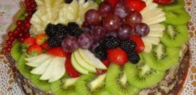 торт фруктовая корзина рецепт