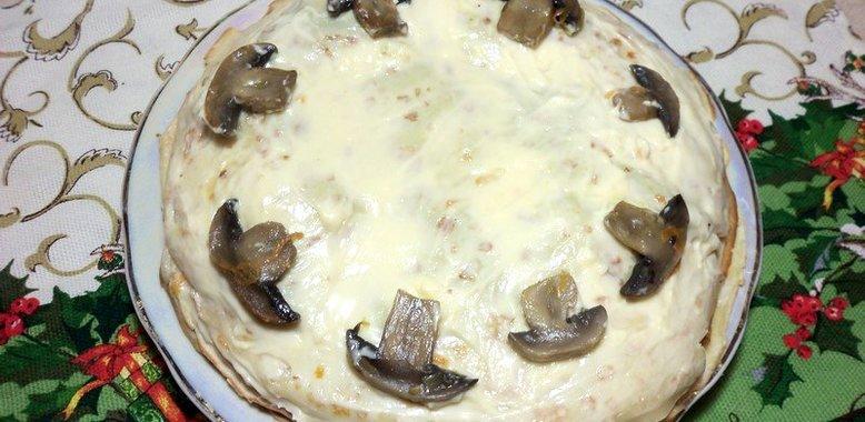 Блинный торт с грибами фото рецепт