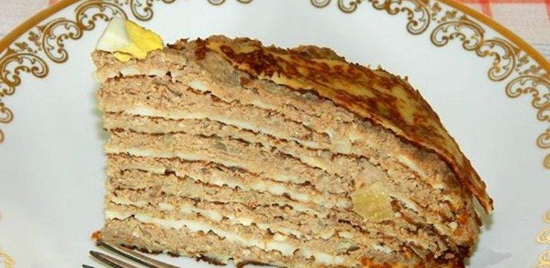 Блинный торт с печенью рецепт с фото